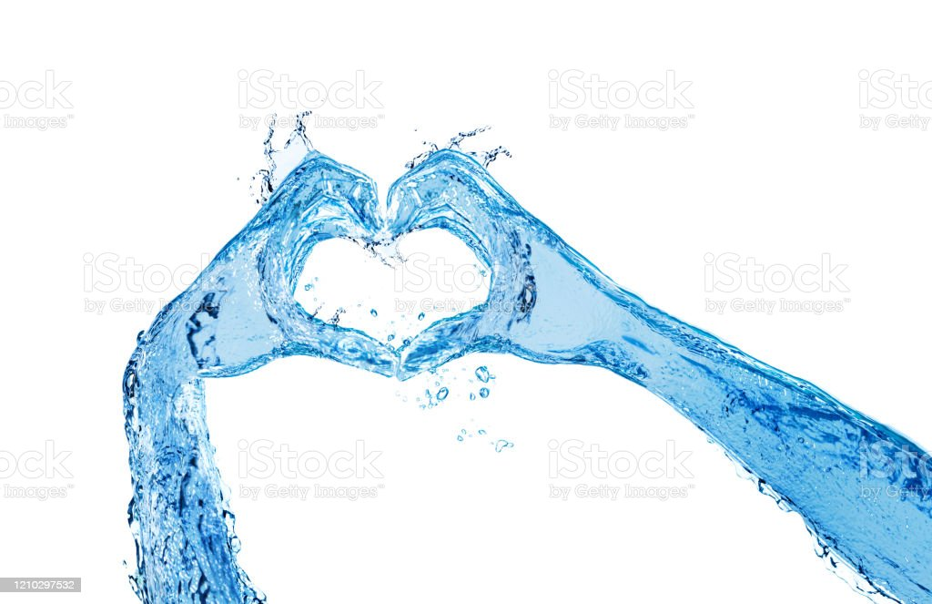 Hands made of liquid water show heart love gesture Two hands made of liquid blue water show heart love gesture isolated on white Arm Stock Photo