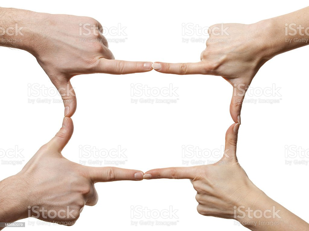 Hands making frame stock photo