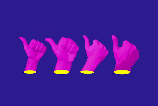 Hands making like, recommend, success gesture with thumbs up. Content marketing satisfaction concept. Native advertising. Influencer marketing concept. Automation ai robot concept. Psychedelic design pattern. Template with space for text.