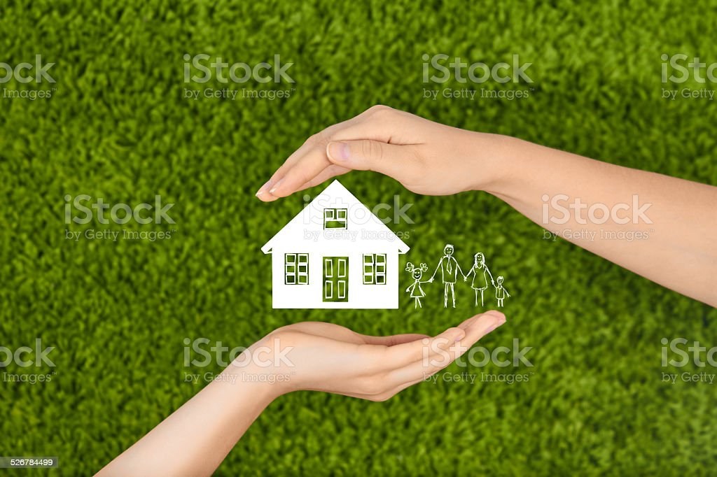Hands making protection gesture. stock photo