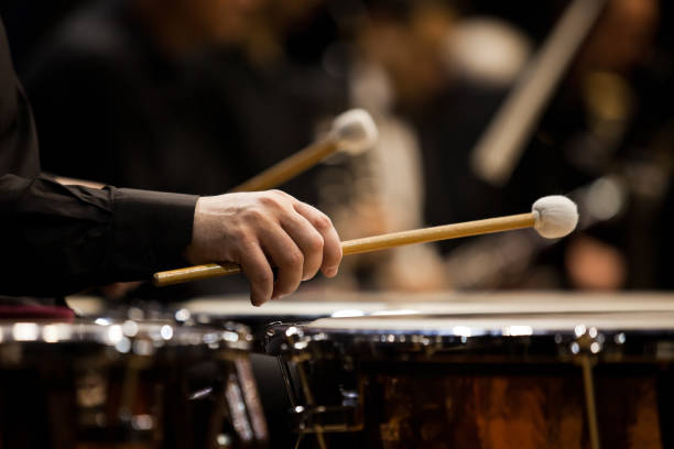 Hands musician playing the timpani in the orchestra – Foto