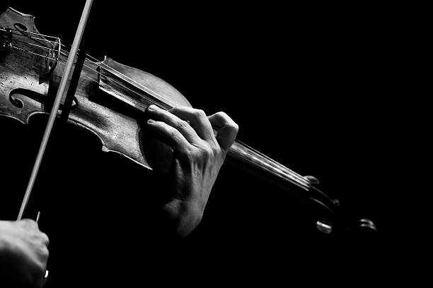 Hands musician playing the violin Hands musician playing the violin in black and white string instrument stock pictures, royalty-free photos & images
