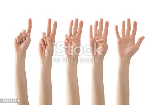 Woman Hands with clipping path , one, two, three, four, five