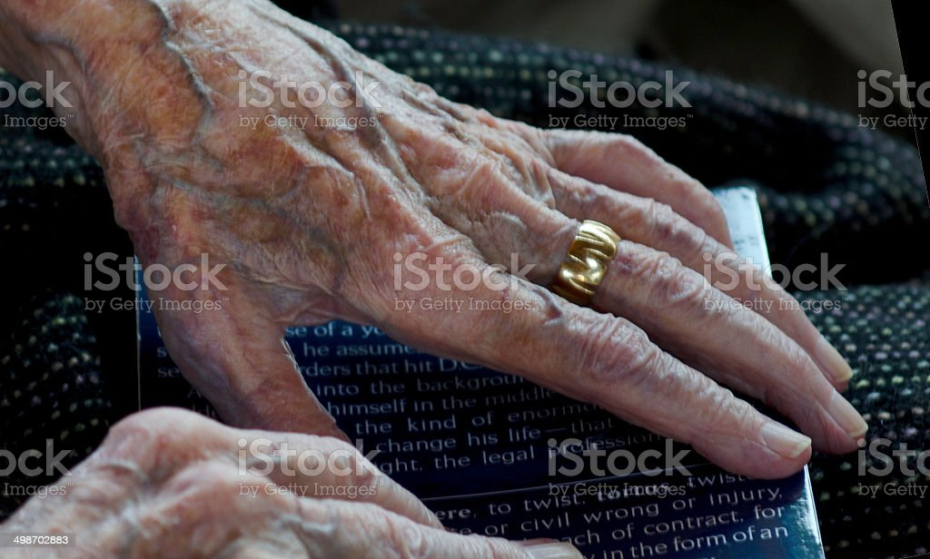 Hands of 100 Year Old Woman stock photo