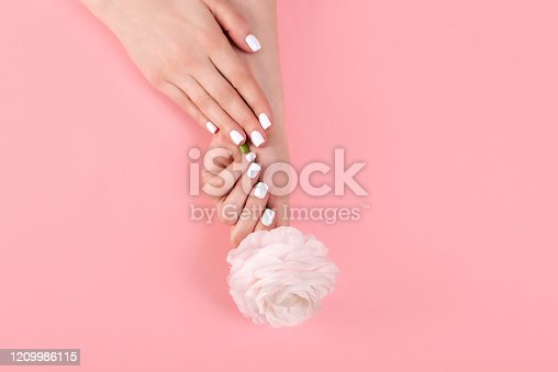 946930880 istock photo Hands of a beautiful woman on a colorful background. Delicate palm with natural manicure, clean skin. Light pink nails. 1209986115