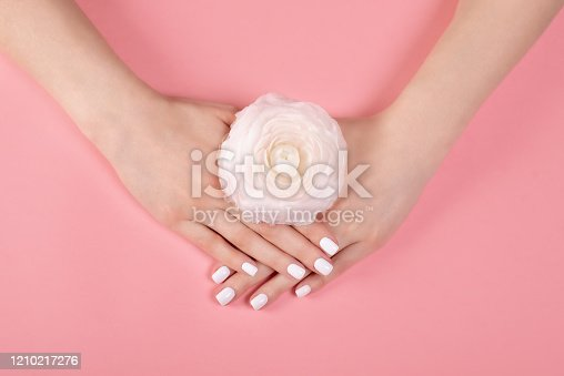 946930880 istock photo Hands of a beautiful woman on a colorful background. Delicate palm with natural manicure, clean skin. Light pink nails. 1210217276
