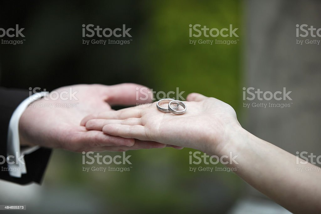 Hands of a bride and groom stock photo