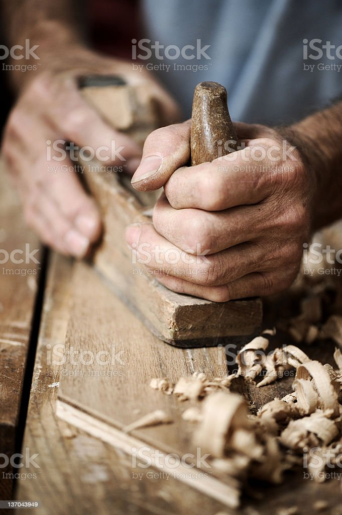 hands of a carpenter, close up stock photo