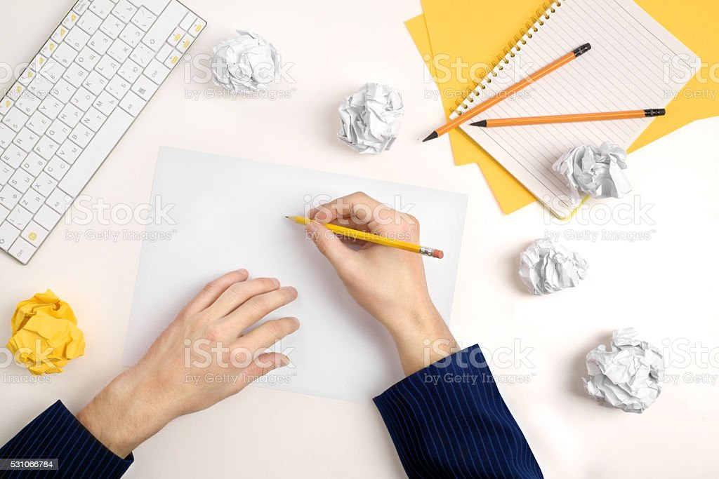 hands of a man thinking about idea stock photo