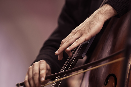 Hands of a musician playing on a contrabass