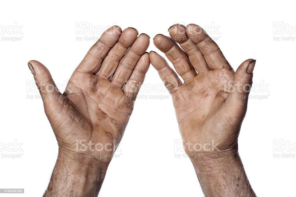 Hands of agricultural worker stock photo