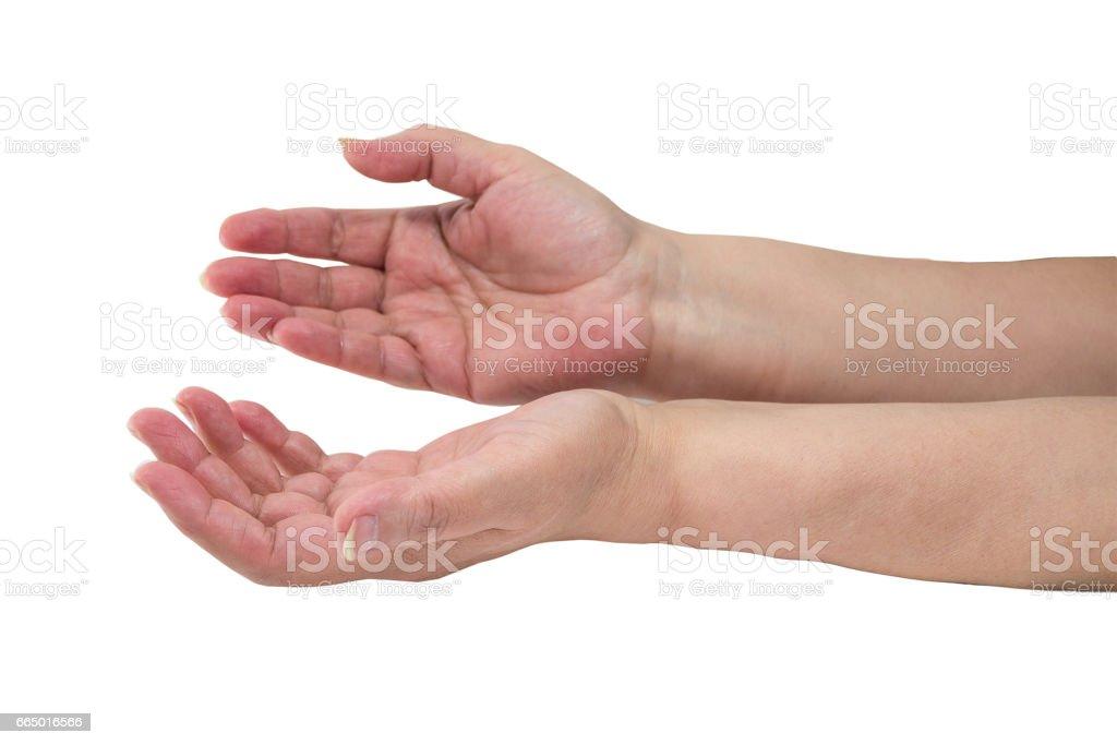 hands of an elderly woman stock photo