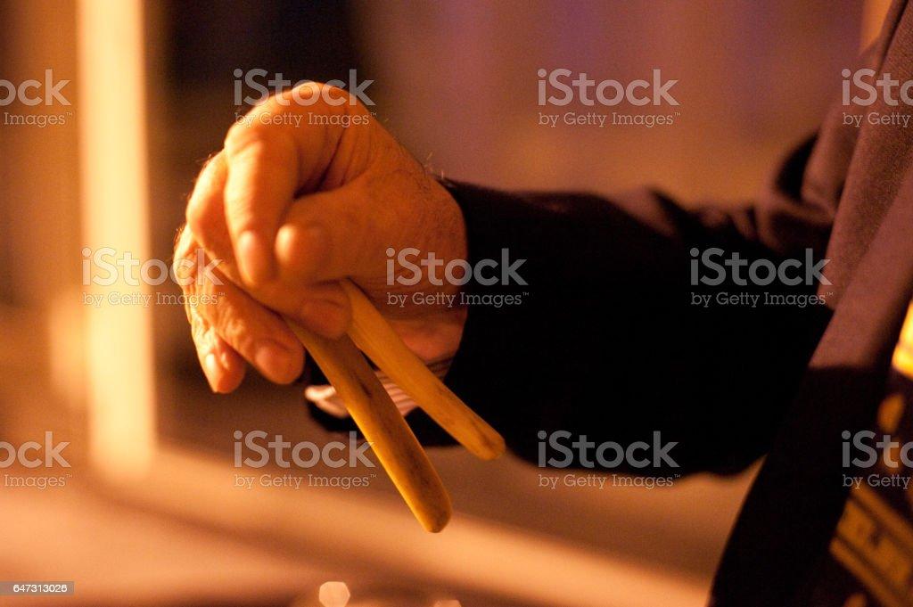 Hands of an Irish Bones Player stock photo