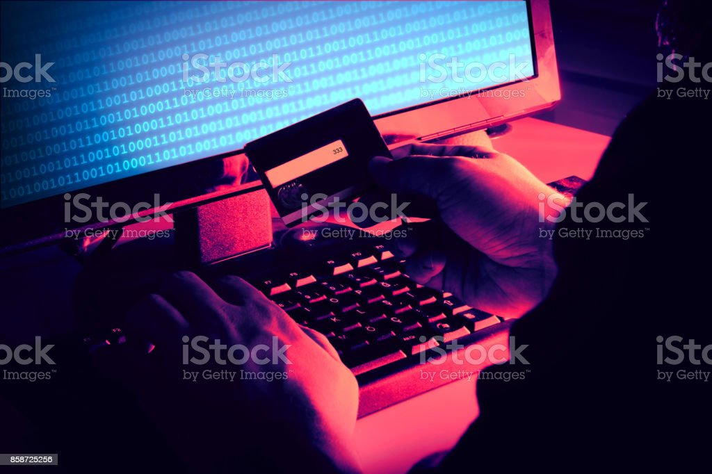 Hands of anonymous hacker royalty-free stock photo