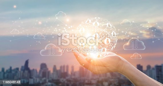 914788012 istock photo Hands of business holding global structure networking and data exchanges customer connection on sunset background 1165048143