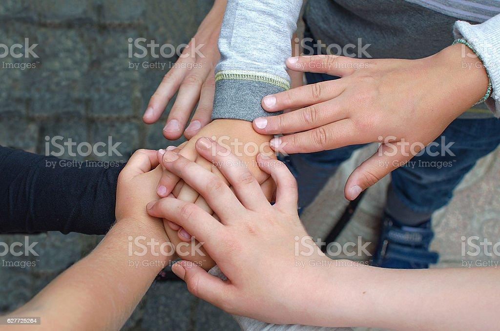 Hands of children stock photo