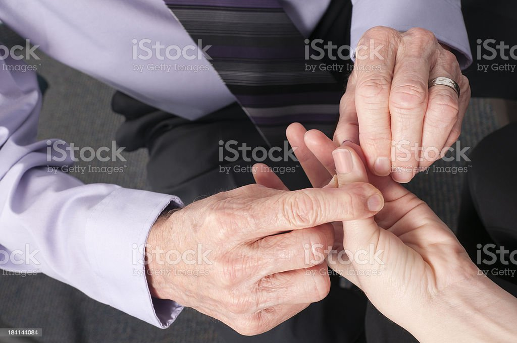 Hands of Chiropractic Doctor Testing Patient  for Carpal Tunnel royalty-free stock photo