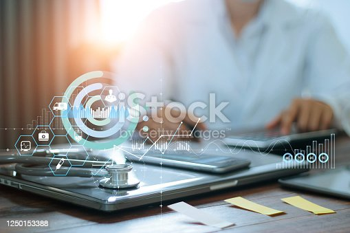 Hands of doctor doing finances and calculate on table and Healthcare business graph data and growth on hospital background.
