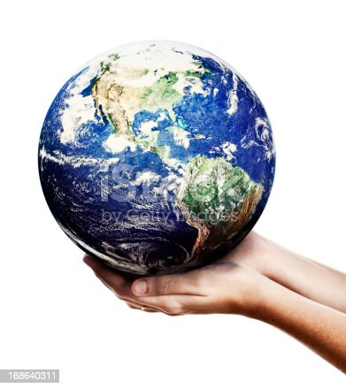 A single pair of hands support the World. Shows environmental awareness and an acceptance of responsibility for the care of our earthly home.
