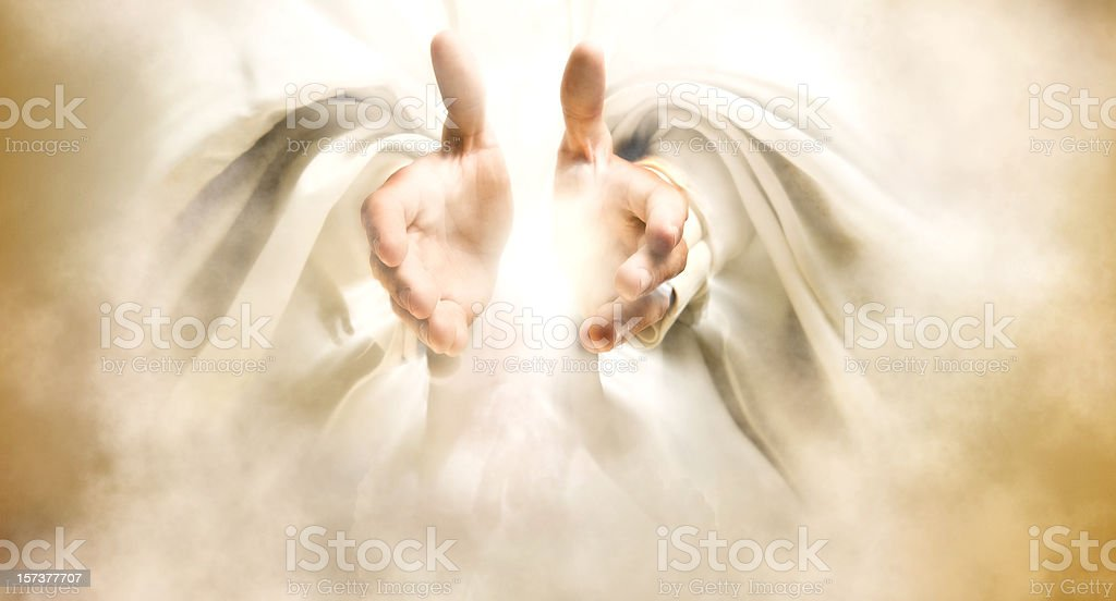 Hands of God stock photo