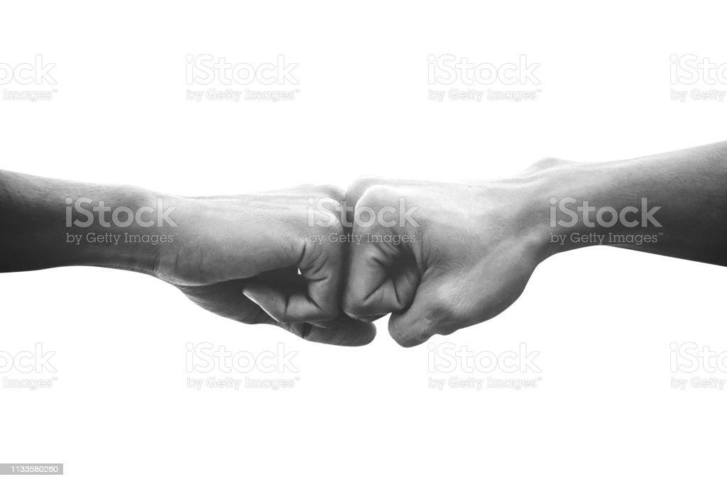 Hände von Menschen Faust bump Team Teamarbeit und Partnerschaft Geschäftserfolg, Schwarz-Weiß-Image - Lizenzfrei Abmachung Stock-Foto