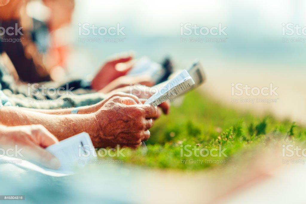 Hands of men with betting magazines on a racecourse stock photo