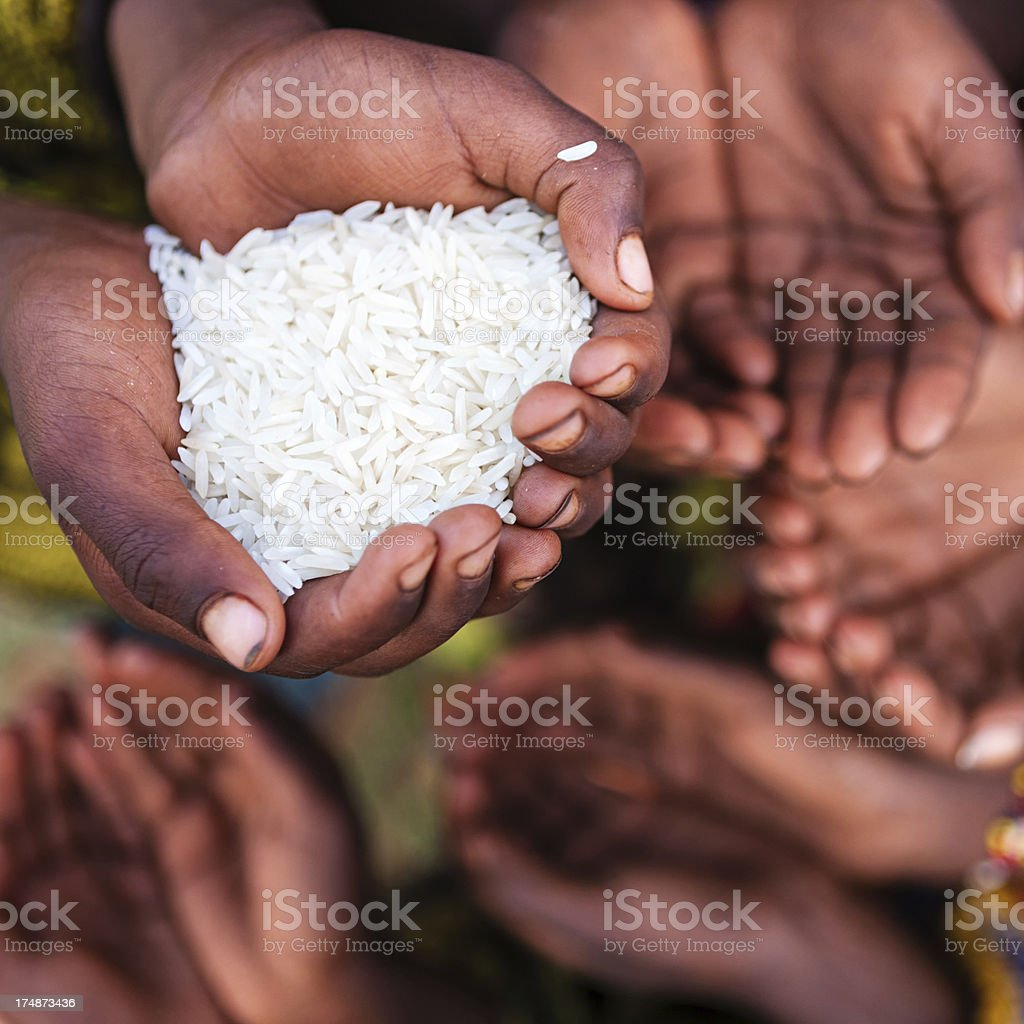 Hands of poor - asking for food, Africa stock photo