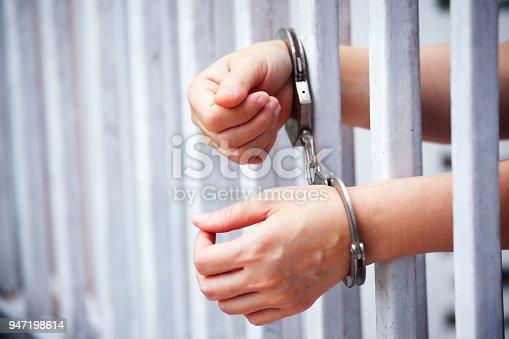 hands of prisoner in bar jail background