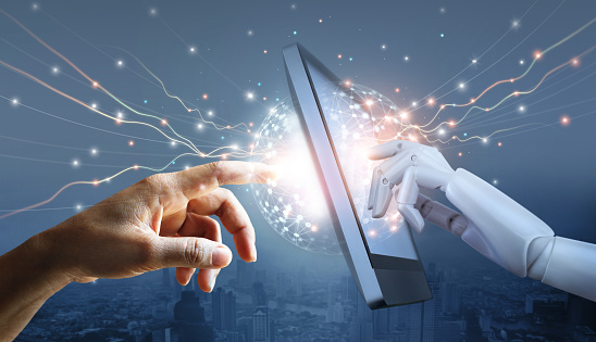 510584002 istock photo Hands of robot and human touching on big data network connection, Science and artificial intelligence technology, innovation and futuristic, AI, Machine learning. 1250153473