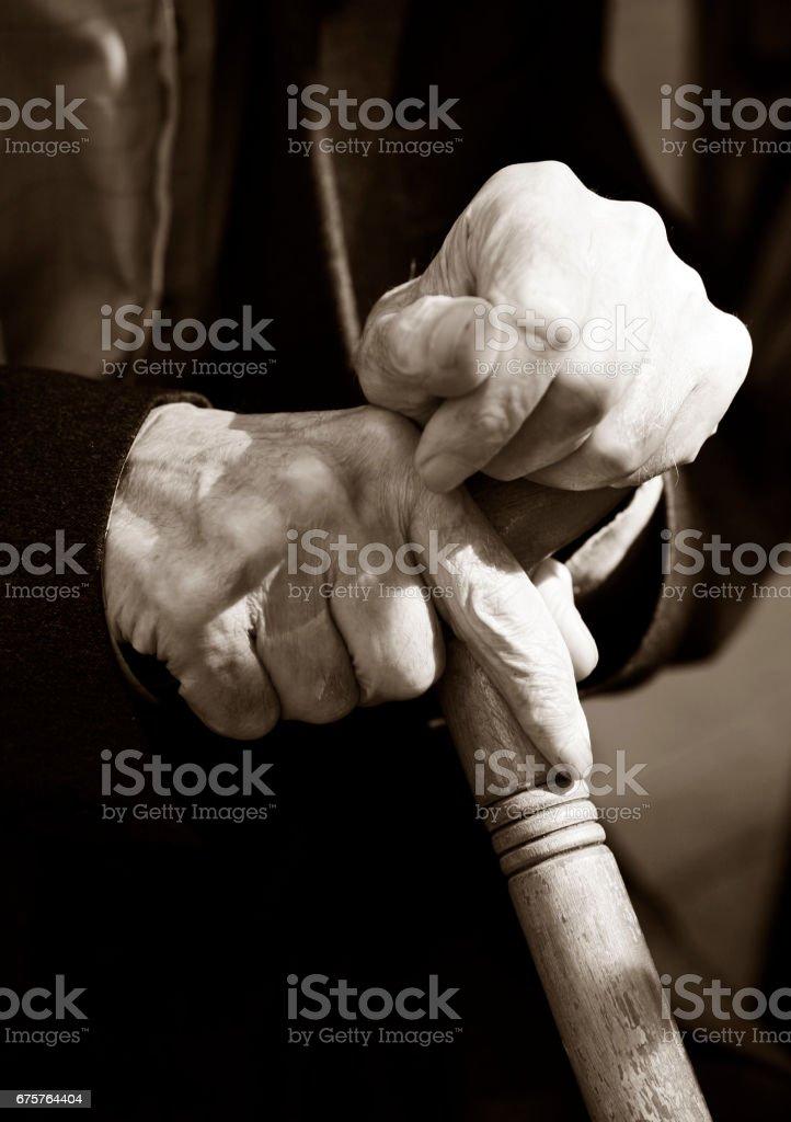 Hands of the elderly man stock photo