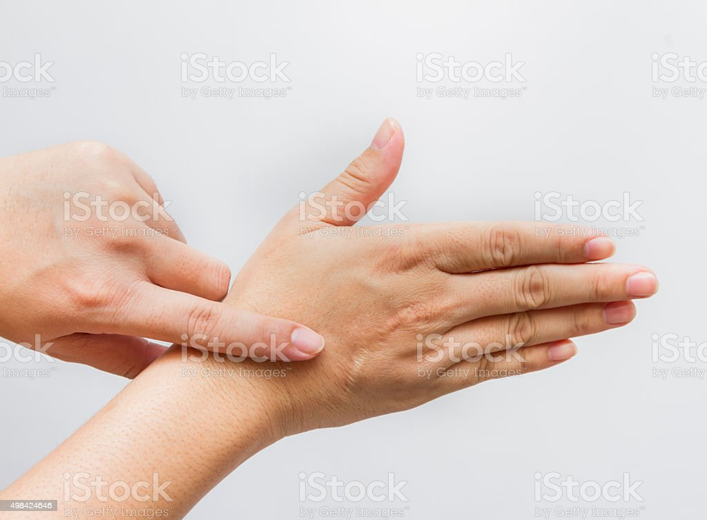 Hands of the man with scar. stock photo