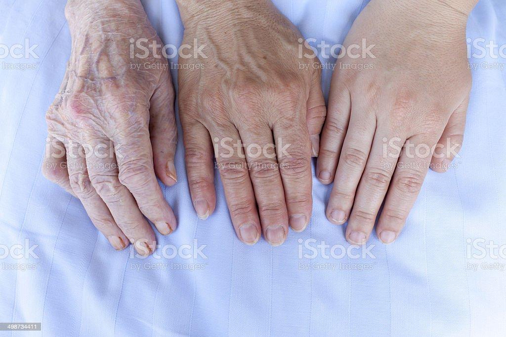 Hands of three generations stock photo