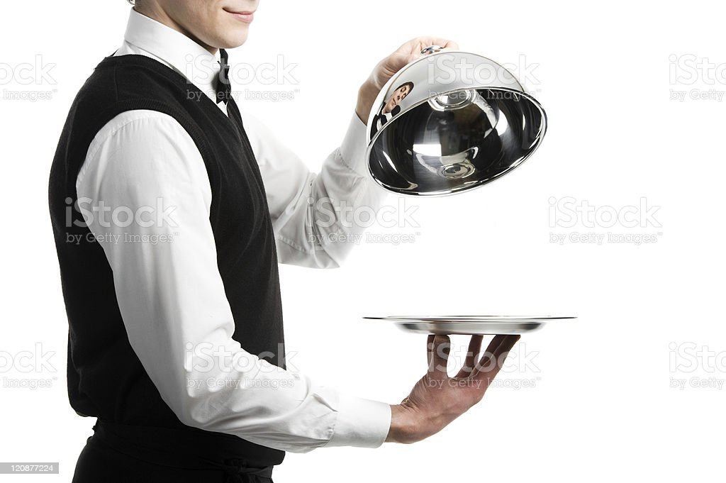hands of waiter with cloche lid cover stock photo