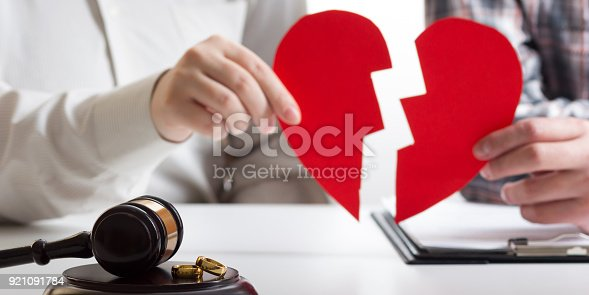 istock Hands of wife, husband signing decree of divorce, dissolution, canceling marriage, legal separation documents, filing divorce papers or premarital agreement prepared by lawyer. Wedding ring 921091784