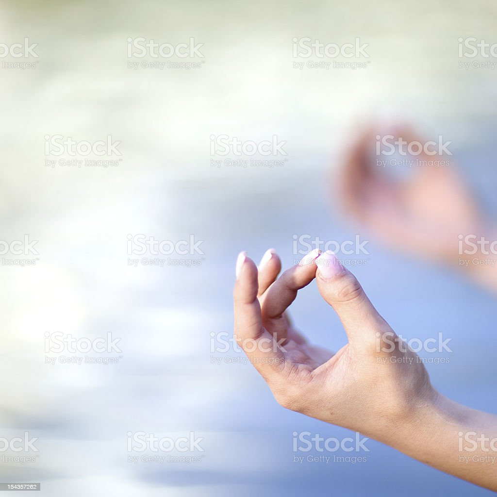 Hands of woman doing Yoga royalty-free stock photo