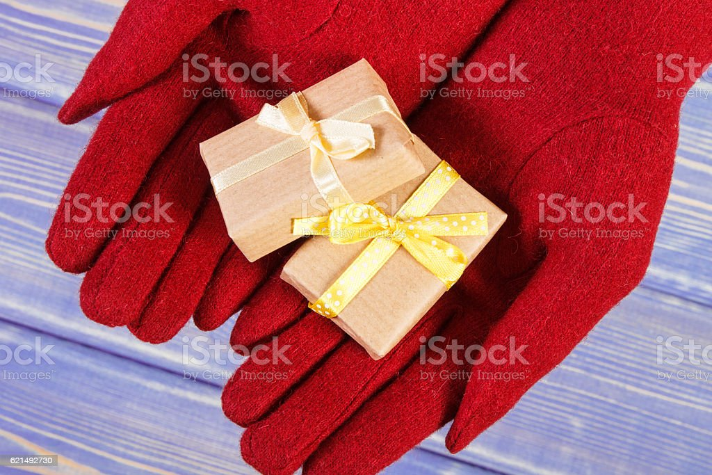 Hands of woman in gloves with gifts for Christmas Lizenzfreies stock-foto