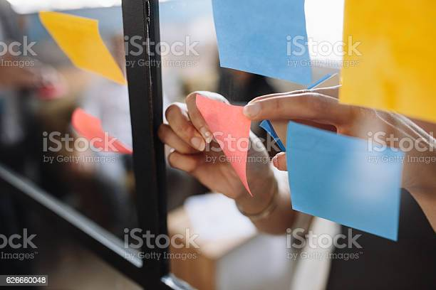 Hands of woman sticking adhesive notes on glass picture id626660048?b=1&k=6&m=626660048&s=612x612&h=4zb0 3ooajnfsrxwj8yfhe5aggegthjtko48y1h9te8=