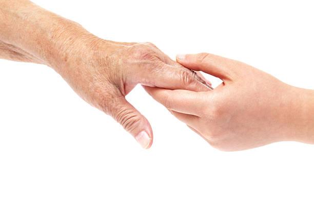 Hände Junge und ältere Frauen-Unterstützung – Foto