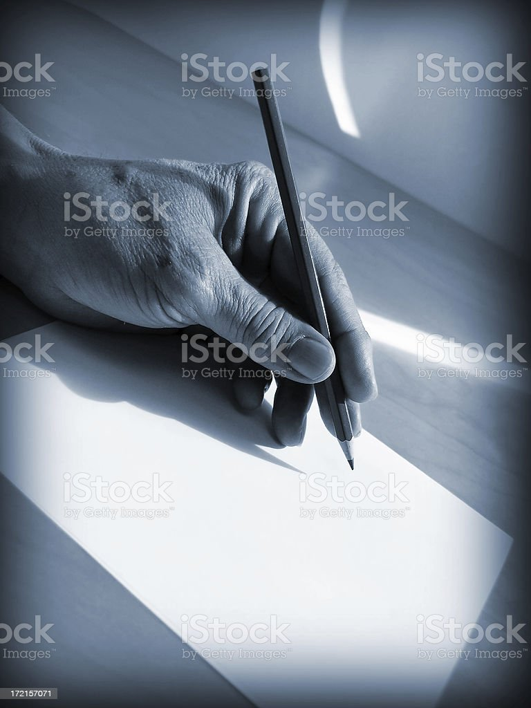 hands: old hand writing royalty-free stock photo