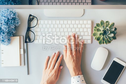 Top view on female elegant hands on a computer keyboard. Businesswoman in the office.