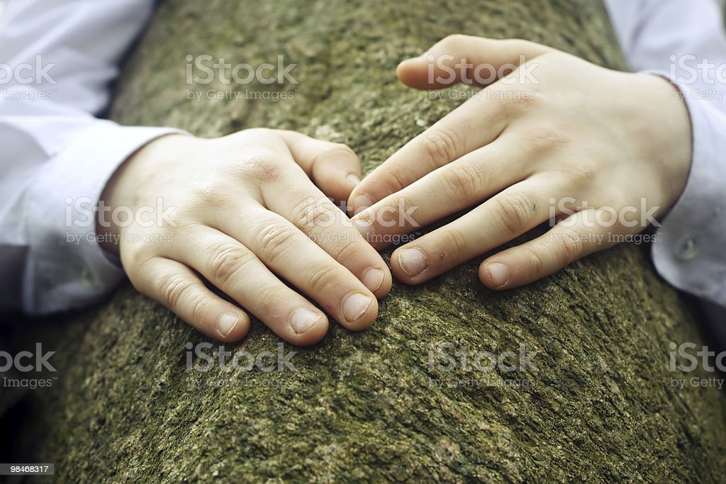 Hands on a stone royalty-free stock photo