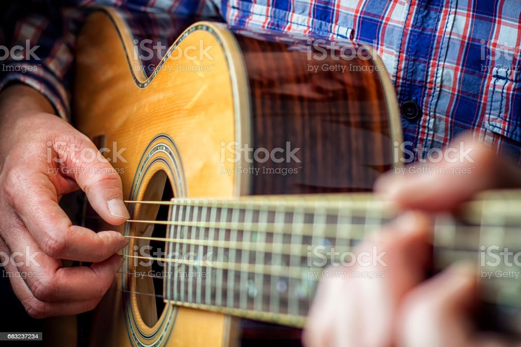 Hands on Acoustic Guitar royalty-free 스톡 사진