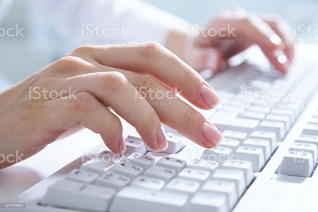 hands on computer keyboard royalty-free stock photo