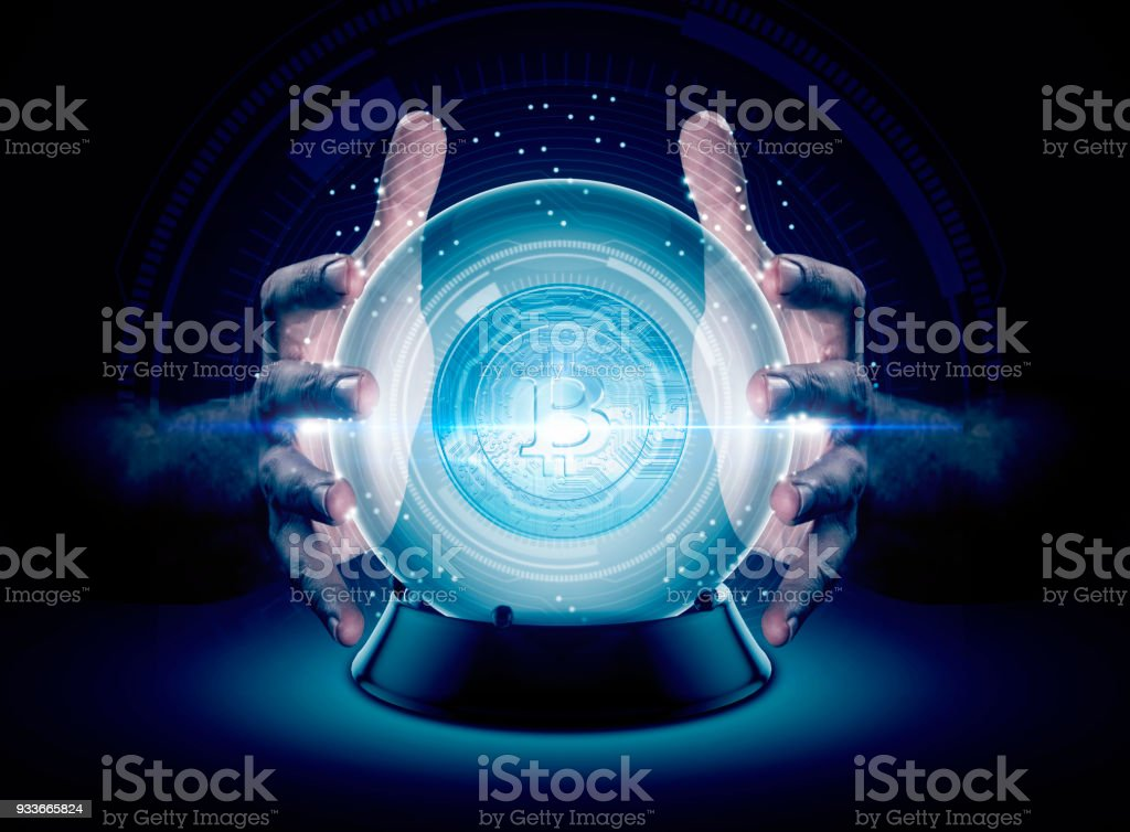 Hands On Crystal Ball And Cryptocurrency stock photo