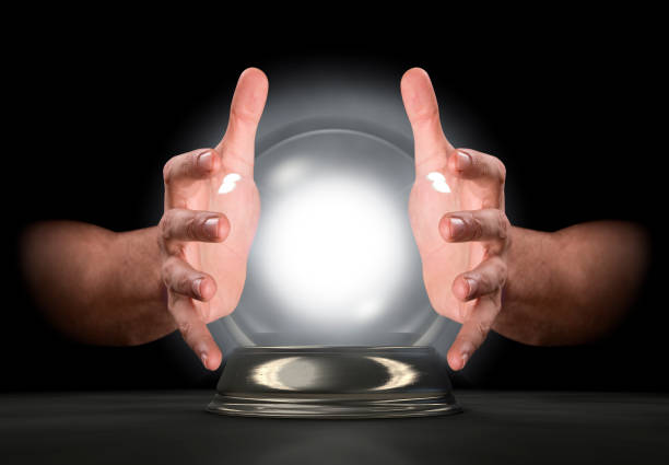 Hands On Crystal Ball stock photo