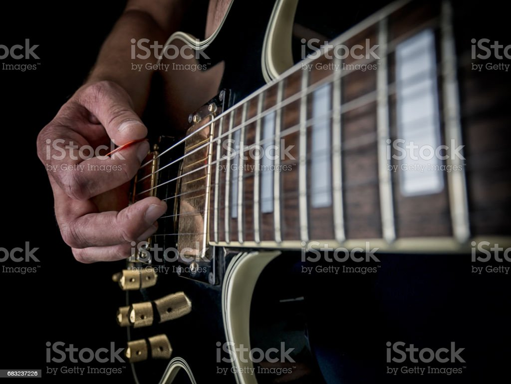 Hands on Electric Guitar royalty-free stock photo