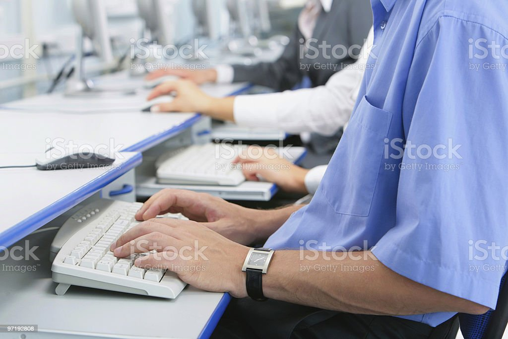 Hands on keyboard royalty-free stock photo