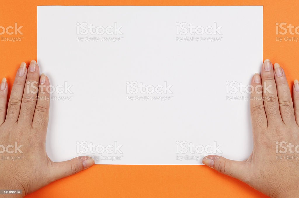 Hands on paper royalty-free stock photo