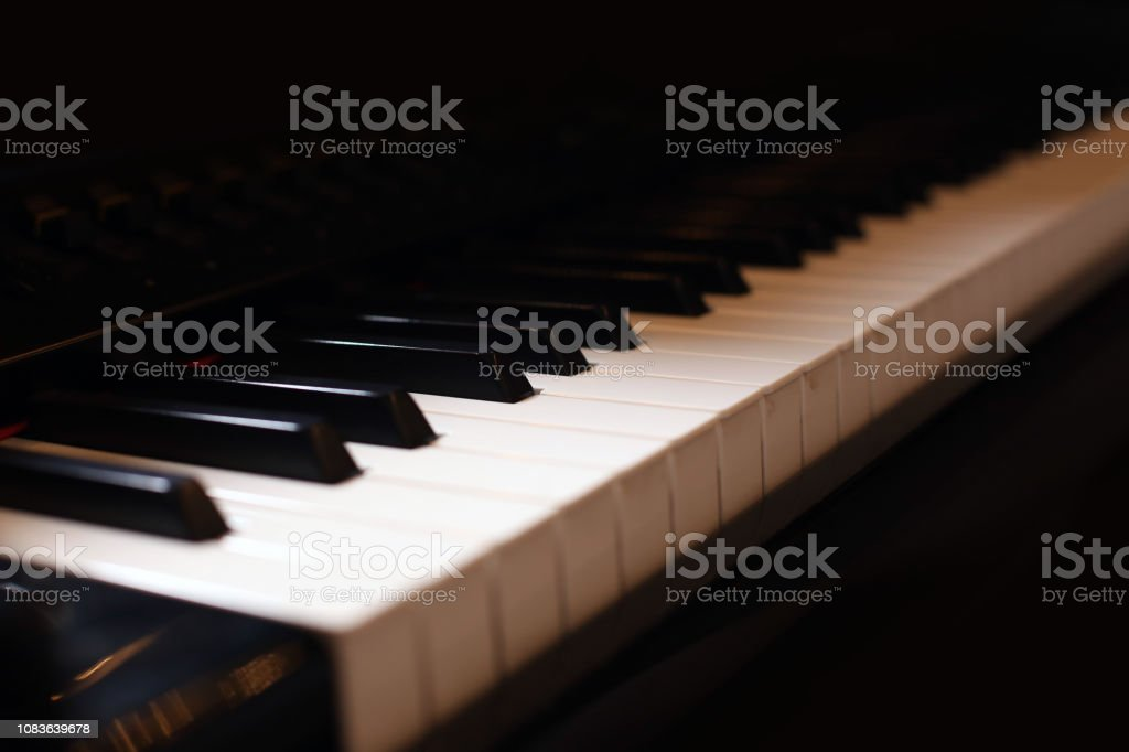 Hands on piano. The pianist plays the piano. Piano keys on black...