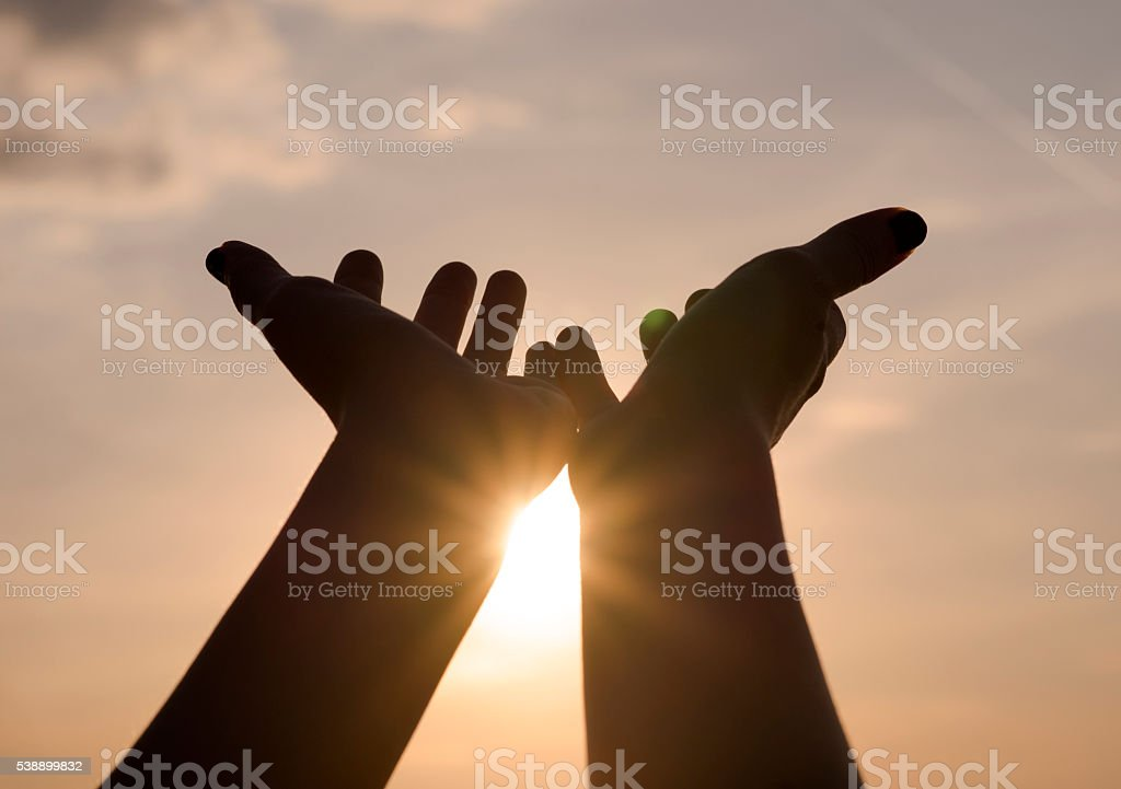 Hands On Sunset Background Success Peacefreedom Concept Stock Photo